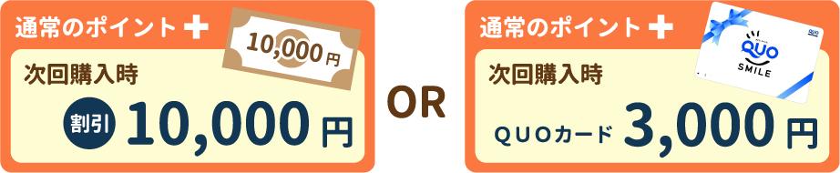 通常ポイント+次回購入時 割引10,000円 OR 通常ポイント+次回購入時 QUOカード3,000円