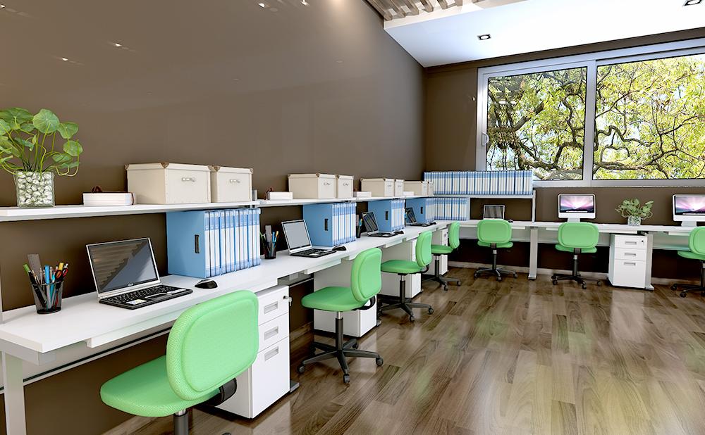 オフィスデスク 平机 コンパクト 使用イメージ